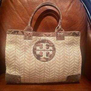 Tory Burch Weave & Reptile Tote Bag/Purse/Handbag